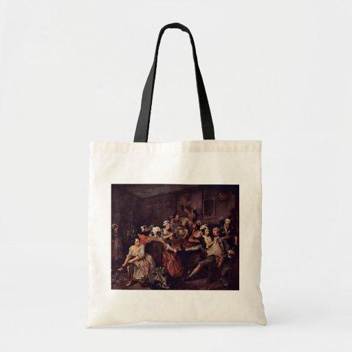 "Scene In A Tavern "" By Hogarth William Canvas Bags"
