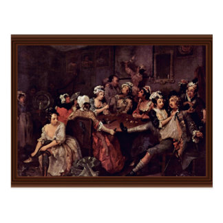 Scene In A Tavern By Hogarth William Postcard