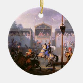 Scene of a Tournament in the Fourteenth Century, 1 Round Ceramic Decoration