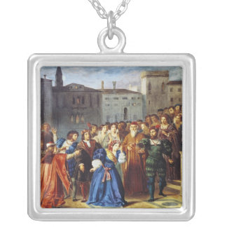 Scene of Confrontation Silver Plated Necklace