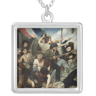Scene of the 1830 Revolution Silver Plated Necklace