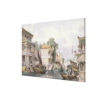 Scene on the Horan Canal near Canton, c.1850 (colo Stretched Canvas Prints