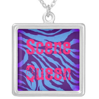 Scene Queen Blue Indigo Zebra Print Necklace