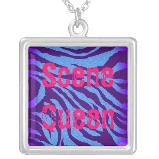 Scene Queen Blue/Indigo Zebra Print Necklace