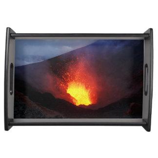 Scenery night eruption volcano serving tray