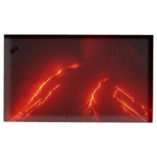 Scenery night eruption volcano table card holder