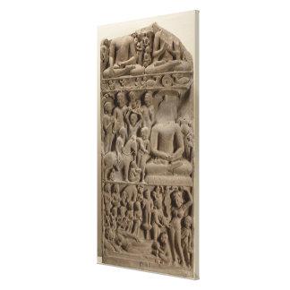 Scenes from Buddha's life, Sarnath, Uttar Pradesh Canvas Print