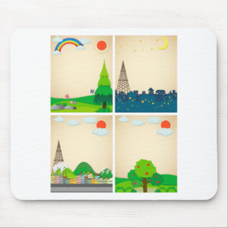 Scenes from city and countryside mouse pad
