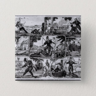 Scenes from 'Robinson Crusoe' by Daniel Defoe 15 Cm Square Badge