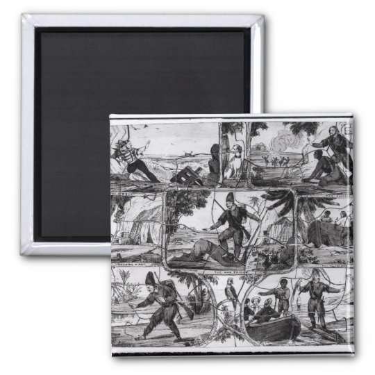 Scenes from 'Robinson Crusoe' by Daniel Defoe Square Magnet