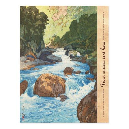 Scenes in the Japan Alps, Kurobe River Yoshida art Postcards