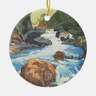 Scenes in the Japan Alps, Kurobe River Yoshida art Round Ceramic Decoration