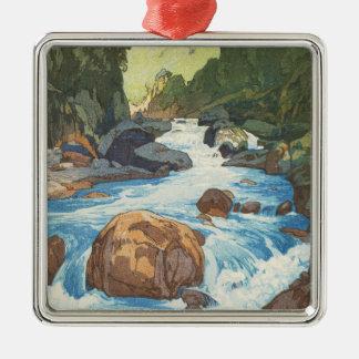 Scenes in the Japan Alps, Kurobe River Yoshida art Silver-Colored Square Decoration