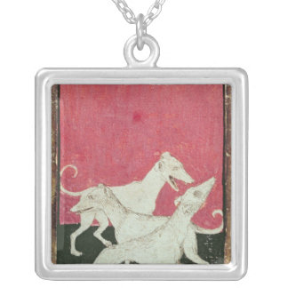 Scenes of courtly hawkin silver plated necklace