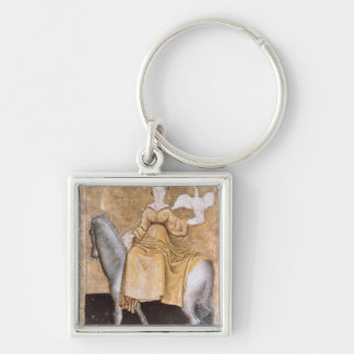 Scenes of courtly hawking Silver-Colored square key ring