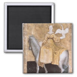 Scenes of courtly hawking square magnet