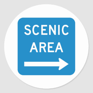 Scenic Area Highway Sign Classic Round Sticker
