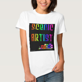 Scenic Artist Design On Black Background Tee Shirts