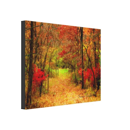 Scenic Autumn Path in Fores Stretched Canvas Print Stretched Canvas Prints