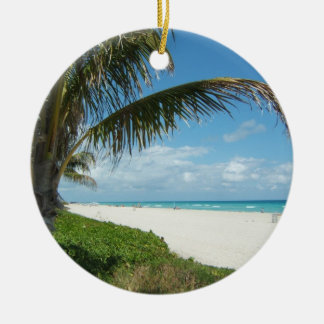 Scenic Beach, Side Palm Branch Christmas Ornament