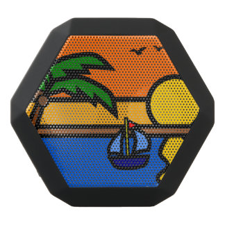 Scenic Beach with Sailboat on the Water Black Bluetooth Speaker
