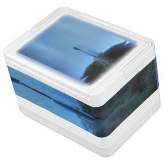 Scenic Blue Lake and Boats in Mist for Fishermen Igloo Cool Box