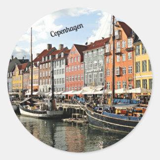 Scenic Canal in Copenhagen Round Sticker
