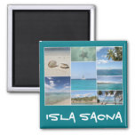 Scenic Caribbean Isla Saona Photo Collage Square Magnet