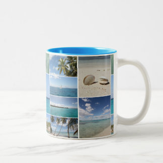 Scenic Caribbean Photo Collage Two-Tone Coffee Mug