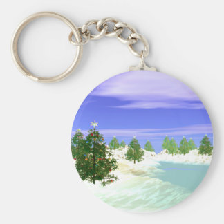 Scenic Christmas Basic Round Button Key Ring