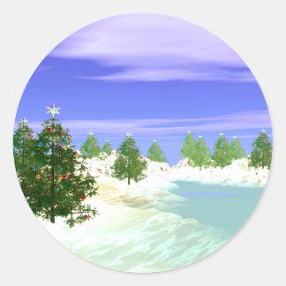Scenic Christmas Classic Round Sticker