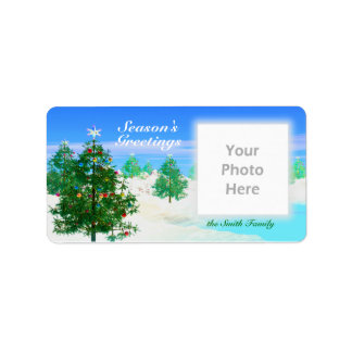 Scenic Christmas Day Photo Frame Address Label