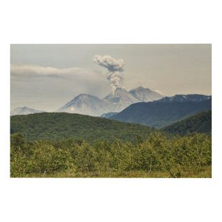 Scenic erupting of Zhupanovsky Volcano. Russia Wood Print