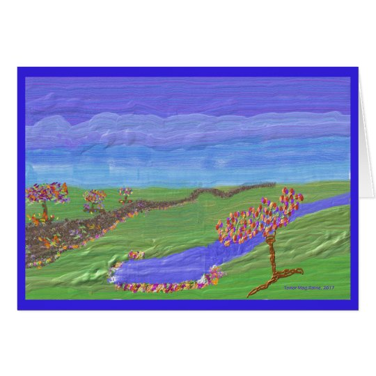 Scenic greeting card of green valley with lake