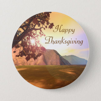 Scenic Happy Thanksgiving 7.5 Cm Round Badge