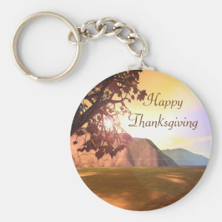 Scenic Happy Thanksgiving Key Ring