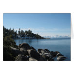 Scenic Lake Tahoe Christmas Snow Covered Mountains Greeting Card
