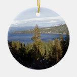 Scenic Lake Tahoe Round Ceramic Decoration