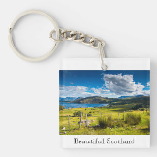 Scenic Landscape in Scotland Double-Sided Square Acrylic Key Ring