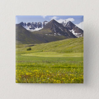 Scenic landscape of Svarfadardalur valley 15 Cm Square Badge