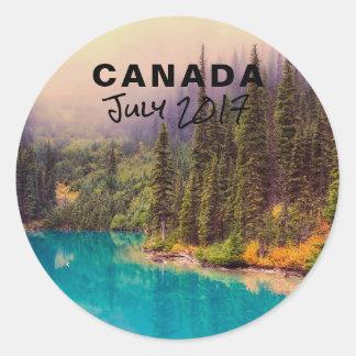 Scenic Northern Landscape Rustic Canada Classic Round Sticker