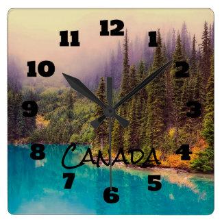 Scenic Northern Landscape Rustic Canada Square Wall Clock