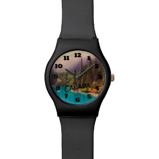 Scenic Northern Landscape Rustic Canada Wristwatches