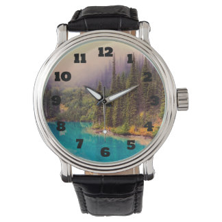 Scenic Northern Landscape Rustic Wrist Watch
