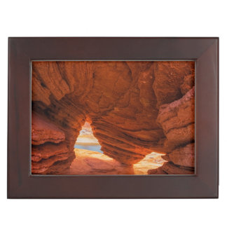 Scenic of eroded sandstone cave keepsake box