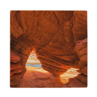 Scenic of eroded sandstone cave wood coaster