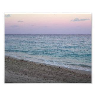 Scenic Peaceful Pink Sunset Beach Photo
