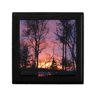 Scenic Pink and Orange Sunset Small Square Gift Box