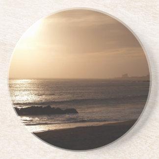 Scenic Series---Golden Ocean Sunset Sandstone Coaster
