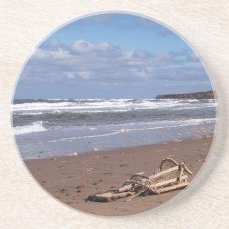 Scenic Series---PEI Beach Broken lobster Trap Beverage Coaster